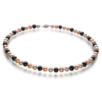 Multicolore 6-7mm AA-qualité perles d'eau douce 925/1000 Argent-Collier de perles