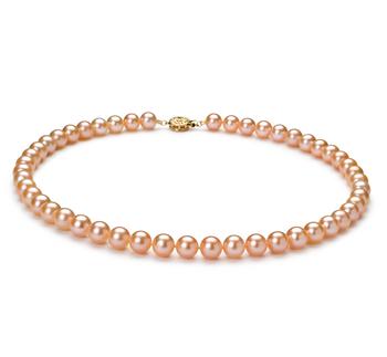 Rose 7-8mm AAAA-qualité perles d'eau douce Rempli D'or-Collier de perles