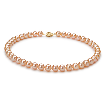 Rose 8.5-9mm AAAA-qualité perles d'eau douce Rempli D'or-Collier de perles