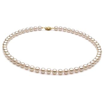 Blanc 6-7mm AA+-qualité Akoya de Chine 375/1000 Or Jaune-Collier de perles