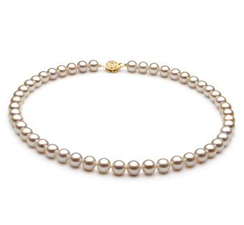 Blanc 7-8mm AAA-qualité perles d'eau douce Rempli D'or-Collier de perles