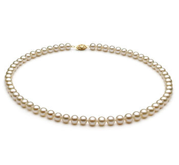 Blanc 6-7mm AA-qualité perles d'eau douce -Collier de perles
