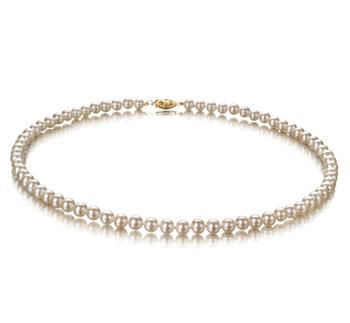Blanc 5-5.5mm AA-qualité perles d'eau douce Rempli D'or-Collier de perles