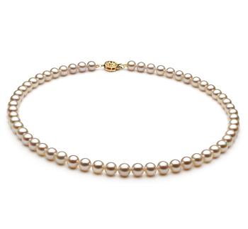 Blanc 6-7mm AAA-qualité perles d'eau douce Rempli D'or-Collier de perles