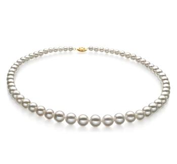 Blanc 5-10mm AAA-qualité perles d'eau douce Rempli D'or-Collier de perles
