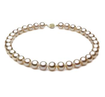Blanc 10.5-11.5mm AAA-qualité perles d'eau douce Rempli D'or-Collier de perles