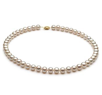 Blanc 6.5-7.5mm AA-qualité perles d'eau douce Alliage-Collier de perles