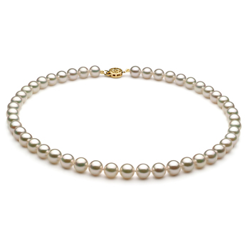 Blanc 7.5-8mm AAA-qualité Akoya du Japon -Collier de perles