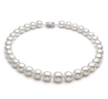 Blanc 12-16mm AAA-qualité des Mers du Sud 585/1000 Or Blanc-Collier de perles