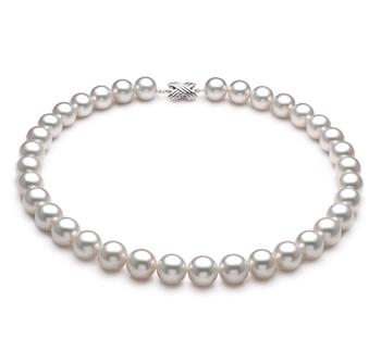 Blanc 12-13mm AAA-qualité des Mers du Sud 585/1000 Or Blanc-Collier de perles