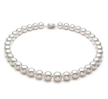 Blanc 11-14mm AAA+-qualité des Mers du Sud 585/1000 Or Blanc-Collier de perles