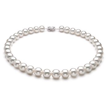 Blanc 10-14mm AAA+-qualité des Mers du Sud 750/1000 Or Blanc-Collier de perles