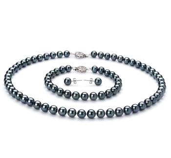 Noir 6.5-7mm AA-qualité Akoya du Japon 925/1000 Argent-un set en perles