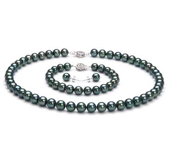Noir 7-7.5mm AAA-qualité Akoya du Japon 925/1000 Argent-un set en perles