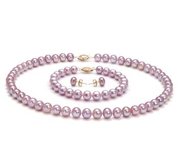 Lavande 7-8mm AA-qualité perles d'eau douce Rempli D'or-un set en perles