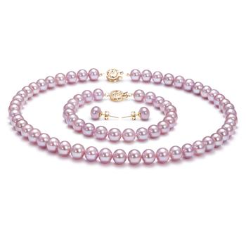 Lavande 7.5-8mm AAA-qualité perles d'eau douce Rempli D'or-un set en perles