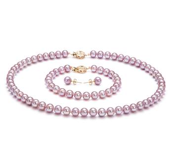 Lavande 6-6.5mm AAAA-qualité perles d'eau douce Rempli D'or-un set en perles
