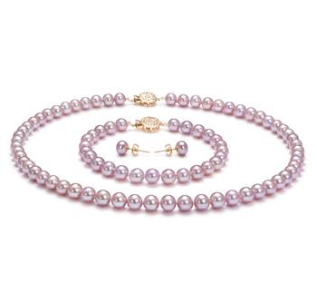 Lavande 6-6.5mm AAA-qualité perles d'eau douce Rempli D'or-un set en perles