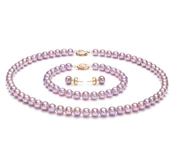 Lavande 6-6.5mm AA-qualité perles d'eau douce Rempli D'or-un set en perles