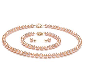 Rose 6-7mm AAA-qualité perles d'eau douce Rempli D'or-un set en perles