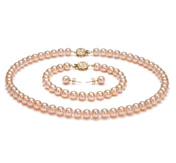 Rose 6-6.5mm AAAA-qualité perles d'eau douce Rempli D'or-un set en perles
