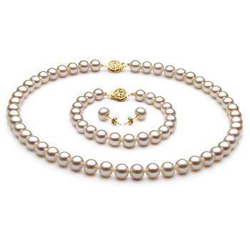 Blanc 7-8mm AAA-qualité perles d'eau douce Rempli D'or-un set en perles