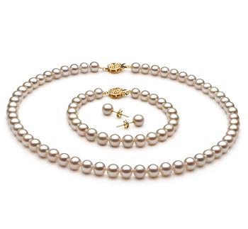 Blanc 6-7mm AAAA-qualité perles d'eau douce Rempli D'or-un set en perles