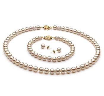 Blanc 6-7mm AAA-qualité perles d'eau douce Rempli D'or-un set en perles