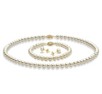 Blanc 5-6mm AAA-qualité perles d'eau douce -un set en perles