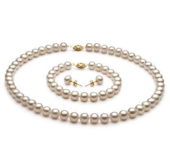 Blanc 7.5-8.5mm AA-qualité perles d'eau douce -un set en perles