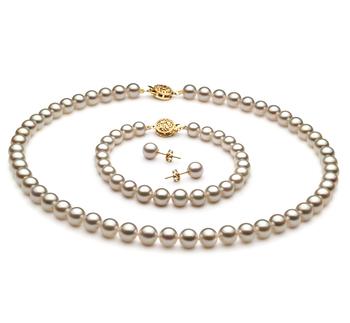 Blanc 6.5-7mm AAA-qualité Akoya du Japon-un set en perles