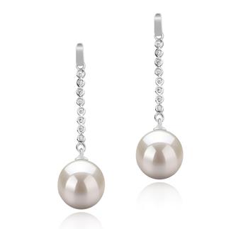 Porsha Blanc 10-11mm AAAA-qualité perles d'eau douce 925/1000 Argent-Boucles d'oreilles en perles