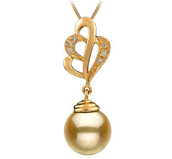 Prudence Or 10-11mm AAA-qualité des Mers du Sud 585/1000 Or Jaune-pendentif en perles