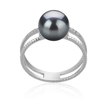 Rahara Noir 8-9mm AAA-qualité Akoya du Japon 925/1000 Argent-Bague perles