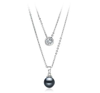 Ramona Noir 7-8mm AAAA-qualité perles d'eau douce 925/1000 Argent-Collier de perles