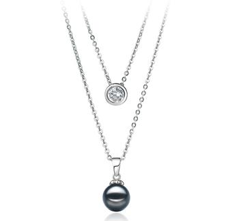 Ramona Noir 7-8mm AA-qualité Akoya du Japon 925/1000 Argent-Collier de perles