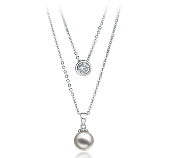 Ramona Blanc 7-8mm AA-qualité Akoya du Japon 925/1000 Argent-Collier de perles
