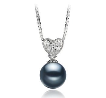 Randy Noir 7-8mm AAAA-qualité perles d'eau douce 925/1000 Argent-pendentif en perles