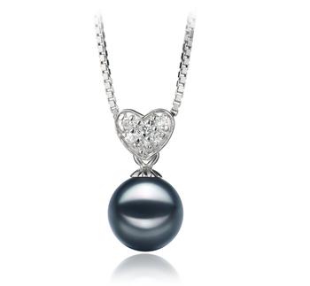 Randy Noir 7-8mm AA-qualité Akoya du Japon 925/1000 Argent-pendentif en perles