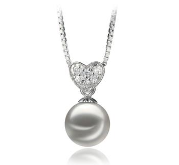 Randy Blanc 7-8mm AA-qualité Akoya du Japon 925/1000 Argent-pendentif en perles