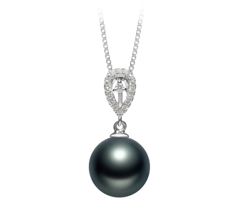 Regina Noir 10-11mm AAA-qualité de Tahiti 925/1000 Argent-pendentif en perles