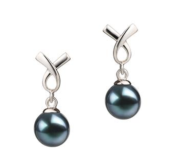 Riley Noir 6-7mm AA-qualité Akoya du Japon 925/1000 Argent-Boucles d'oreilles en perles