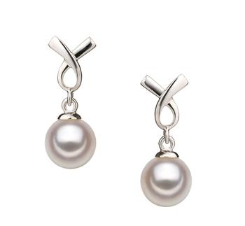 Riley Blanc 6-7mm AA-qualité Akoya du Japon 925/1000 Argent-Boucles d'oreilles en perles