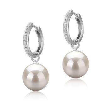Rosalind Blanc 10-11mm AAAA-qualité perles d'eau douce 925/1000 Argent-Boucles d'oreilles en perles