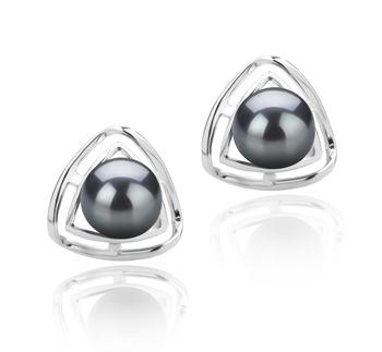 Rowan Noir 6-7mm AAAA-qualité perles d'eau douce 925/1000 Argent-Boucles d'oreilles en perles
