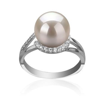Royisal Blanc 9-10mm AAAA-qualité perles d'eau douce 925/1000 Argent-Bague perles