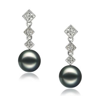 Rozene Noir 8-9mm AAA-qualité Akoya du Japon 585/1000 Or Blanc-Boucles d'oreilles en perles