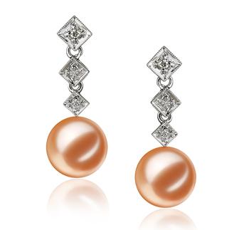 Rozene Rose 9-10mm AAAA-qualité perles d'eau douce 585/1000 Or Blanc-Boucles d'oreilles en perles