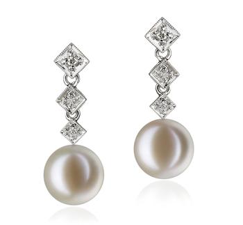 Rozene Blanc 9-10mm AAAA-qualité perles d'eau douce 585/1000 Or Blanc-Boucles d'oreilles en perles