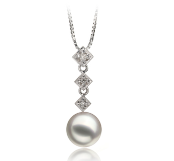 Rozene Blanc 8-9mm AAA-qualité Akoya du Japon 585/1000 Or Blanc-pendentif en perles